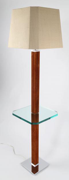Karl Springer 1970s Karl Springer Chrome Suede and Glass Lamp Table - 696029