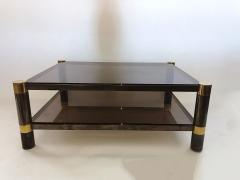 Karl Springer American Modern Gun Metal and Brass Smoked Glass Coffee Table Karl Springer - 1369083