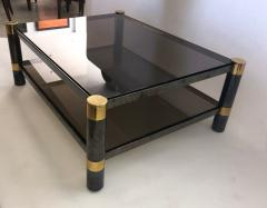 Karl Springer American Modern Gun Metal and Brass Smoked Glass Coffee Table Karl Springer - 1369087