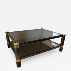 Karl Springer American Modern Gun Metal and Brass Smoked Glass Coffee Table Karl Springer - 1374105