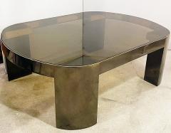 Karl Springer American Modern Gunmetal Brass Smoked Glass Cocktail Table Karl Springer - 2058387