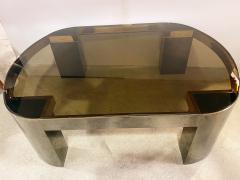 Karl Springer American Modern Gunmetal Brass Smoked Glass Cocktail Table Karl Springer - 2058757