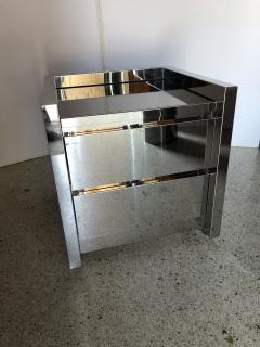 Karl Springer American Modern Highly Polished Stainless Steel Nightstand Karl Springer - 1429957