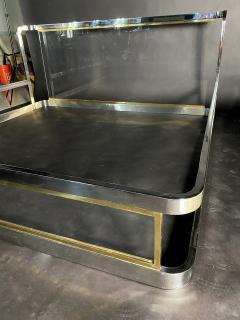 Karl Springer American Modern Unique Chrome Brass and Lucite King Bed Karl Springer - 1384851