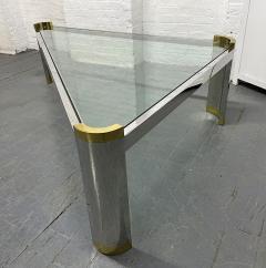 Karl Springer Chrome and Brass Triangular Coffee Table - 1954072