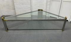 Karl Springer Chrome and Brass Triangular Coffee Table - 1954073