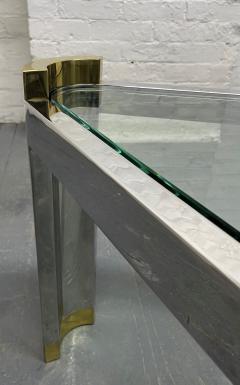 Karl Springer Chrome and Brass Triangular Coffee Table - 1954076