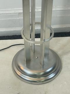 Karl Springer EXCEPTIONAL ART DECO REVIVAL BRUSHED CHROME AND GLASS BALL TORCHIERE - 2046960