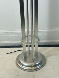 Karl Springer EXCEPTIONAL ART DECO REVIVAL BRUSHED CHROME AND GLASS BALL TORCHIERE - 2046961