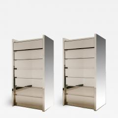 Karl Springer Fine Companion Pair American Modern Polished Stainless Highboys Karl Springer - 1677680