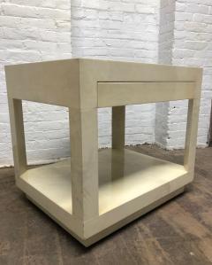 Karl Springer Goatskin Parchment Side Table by Karl Springer - 1046263