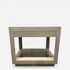 Karl Springer Goatskin Parchment Side Table by Karl Springer - 1050079