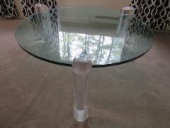 Karl Springer Gorgeous Karl Springer Style Lucite Column Round Coffee Table Mid Century Modern - 1454117