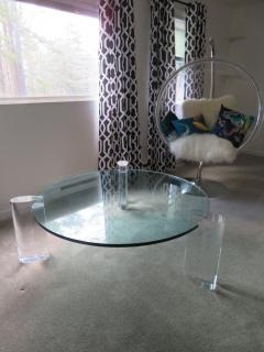Karl Springer Gorgeous Karl Springer Style Lucite Column Round Coffee Table Mid Century Modern - 1454133