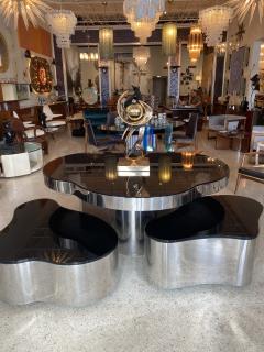 Karl Springer Important America Polished Steel Granite Free Form Dining Breakfast Table - 1683288