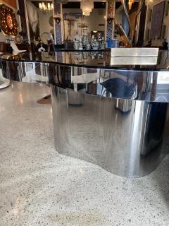 Karl Springer Important America Polished Steel Granite Free Form Dining Breakfast Table - 1683289