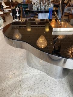 Karl Springer Important America Polished Steel Granite Free Form Dining Breakfast Table - 1683291