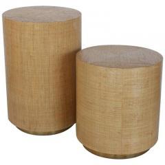 Karl Springer KARL SPRINGER STYLE MODERN GRASSCLOTH AND BRASS SIDE TABLES - 1046678