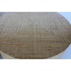 Karl Springer KARL SPRINGER STYLE MODERN GRASSCLOTH AND BRASS SIDE TABLES - 1046681
