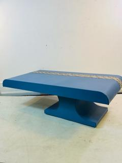 Karl Springer KARL SPRINGER STYLE PERIWINKLE BLUE LEATHER AND PYTHON COFFEE TABLE BENCH - 1804601