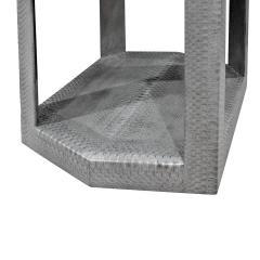 Karl Springer Karl Springer 2 Tier Hexagonal Side Table in Gray Cobra 1985 Signed  - 1922125