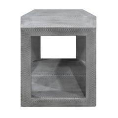 Karl Springer Karl Springer 2 Tier Hexagonal Side Table in Gray Cobra 1985 Signed  - 1922127