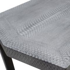 Karl Springer Karl Springer 2 Tier Hexagonal Side Table in Gray Cobra 1985 Signed  - 1922128