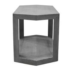 Karl Springer Karl Springer 2 Tier Hexagonal Side Table in Gray Cobra 1985 Signed  - 1922130