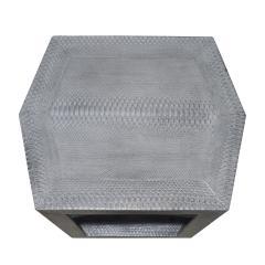 Karl Springer Karl Springer 2 Tier Hexagonal Side Table in Gray Cobra 1985 Signed  - 1922131