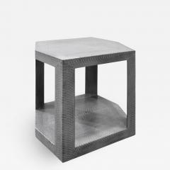 Karl Springer Karl Springer 2 Tier Hexagonal Side Table in Gray Cobra 1985 Signed  - 1923745