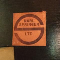Karl Springer Karl Springer Angular Leg Console Table in Lacquered Goatskin 1970s Signed  - 1950066