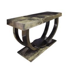 Karl Springer Karl Springer Art Deco Console Table in Lacquered Goat Skin 1970s - 1463328