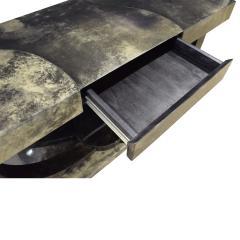 Karl Springer Karl Springer Art Deco Console Table in Lacquered Goat Skin 1970s - 1463330