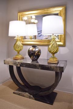 Karl Springer Karl Springer Art Deco Console Table in Lacquered Goat Skin 1970s - 1463331