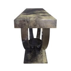 Karl Springer Karl Springer Art Deco Console Table in Lacquered Goat Skin 1970s - 1463333