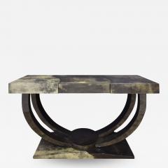 Karl Springer Karl Springer Art Deco Console Table in Lacquered Goat Skin 1970s - 1464841