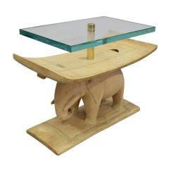 Karl Springer Karl Springer Authentic African Elephant Table with Floating Glass Top 1980s - 1699090