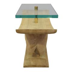 Karl Springer Karl Springer Authentic African Elephant Table with Floating Glass Top 1980s - 1699091