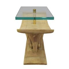 Karl Springer Karl Springer Authentic African Elephant Table with Floating Glass Top 1980s - 1699092