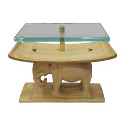 Karl Springer Karl Springer Authentic African Elephant Table with Floating Glass Top 1980s - 1699093
