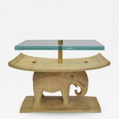 Karl Springer Karl Springer Authentic African Elephant Table with Floating Glass Top 1980s - 1704782