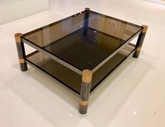 Karl Springer Karl Springer Brass and Gunmetal Coffee Table Signed - 1046940