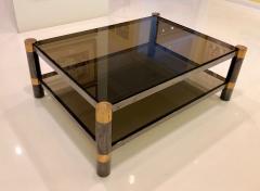Karl Springer Karl Springer Brass and Gunmetal Coffee Table Signed - 1046941