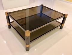 Karl Springer Karl Springer Brass and Gunmetal Coffee Table Signed - 1046942