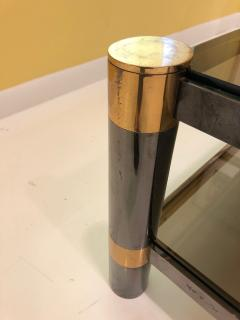 Karl Springer Karl Springer Brass and Gunmetal Coffee Table Signed - 1046943