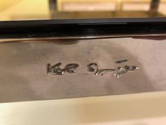 Karl Springer Karl Springer Brass and Gunmetal Coffee Table Signed - 1046944