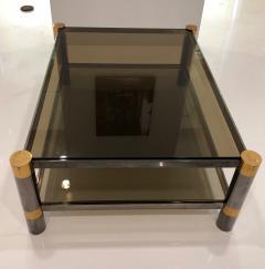 Karl Springer Karl Springer Brass and Gunmetal Coffee Table Signed - 1046946
