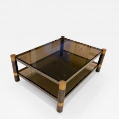 Karl Springer Karl Springer Brass and Gunmetal Coffee Table Signed - 1050171