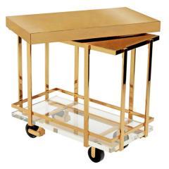 Karl Springer Karl Springer Brass and Lucite Bar Cart 1980s - 1965758