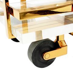 Karl Springer Karl Springer Brass and Lucite Bar Cart 1980s - 1965759